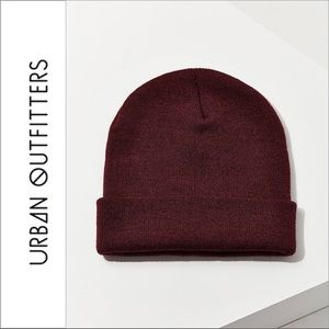 UO Double Knit Essential Beanie Maroon Burgundy